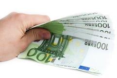 100 billetes de banco euro Fotografía de archivo libre de regalías