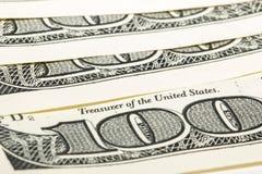 100 billetes de dólar macros Imágenes de archivo libres de regalías