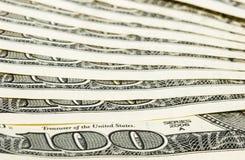 100 billets d'un dollar macro Images libres de droits