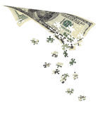 100$ bills, decomposed into puzzles Stock Images