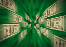 $100 bills flying through a green vortex Royalty Free Stock Photo