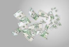 100 bills som flyger pengarpln Royaltyfri Fotografi