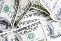 100 bills stänger upp dollaren Royaltyfri Fotografi