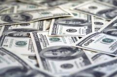 100 bills stänger upp dollaren Arkivfoto