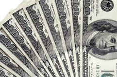 100 bills stänger upp dollaren Arkivfoton