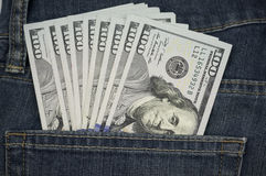 $100 Bills USA in Pocket. $100 Bills Bank Notes USA from 2009 series, released in late 2013 and 2014 in back jean pocket Stock Photography