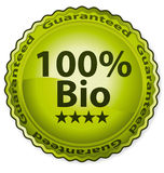 100% Bio. Vector label certificate Stock Photography