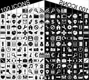100 Black White Web Applications Icons Icon. Illustration featuring a set of 100 minimalistic black and white Web and applications icons delimited in a square Royalty Free Stock Photos