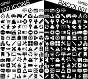 100 Black and White Web and Applications Icons. Illustration featuring a set of 100 minimalistic black and white Web and applications icons delimited in a square Stock Image