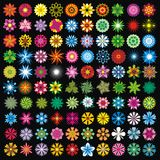 100 blommor vektor illustrationer