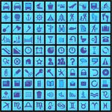 100 blue icons. Set vector blue icons (100 Royalty Free Stock Photography