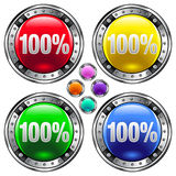 100% buttons. A set of four icons that read 100 royalty free illustration