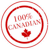 100% Canadian Rubber Stamp. Image of a rubber stamp like imprint that says 100% Canadian vector illustration