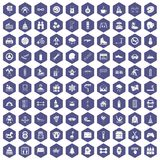 100 Children Activities Icons Hexagon Purple Royalty Free Stock Photos