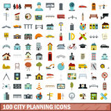 100 City Planning Icons Set, Flat Style Stock Image