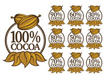100& Cocoa emblem. Percent cocoa seal / Mark / Icon. english Version. Ideal for supporting chocolate brands Stock Photo