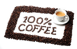 100% coffee. Frame of coffee beans and text 100 % coffee Royalty Free Stock Photos