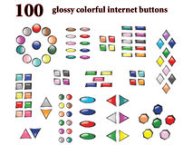 100 colorful vector buttons. Vector illustration of one hundred glossy internet buttons vector illustration