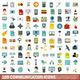 100 Communication Icons Set, Flat Style Royalty Free Stock Photography