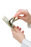 $100 contas de dólar contadas Fotografia de Stock Royalty Free