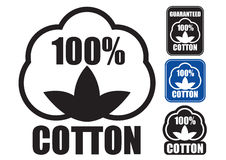 100% Cotton Seal. Set of Icons or Seal certifying 100% Cotton Products vector illustration