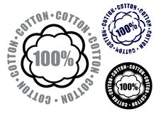 100% Cotton Seal / Mark / Icon. Symbol for certify products made with 100% cotton in three styles stock illustration