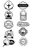 100% Cotton Seals / Marks. Certify Seal of 100% Cotton Isolated, ideal for cotton products such a clothes and materials Stock Images