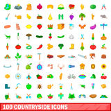 100 Countryside Icons Set, Cartoon Style Stock Images