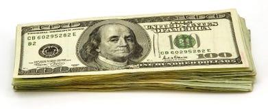 100 cuentas de dólar Imagenes de archivo