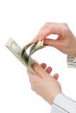 $100 cuentas de dólar contadas Fotografía de archivo libre de regalías