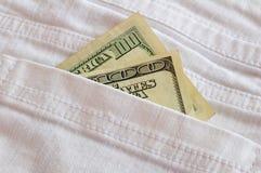 100 dólares Bill y bolsillo Fotos de archivo libres de regalías