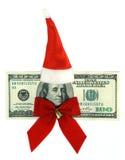 100 dólares de nota de banco vestida no uniforme de Santa Imagem de Stock Royalty Free