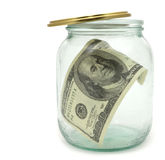 100 dólares em um frasco de vidro Imagens de Stock
