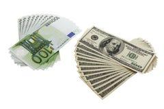 100 dólares y billetes de banco euro Imagen de archivo libre de regalías