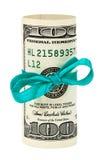 100 de dollar van de V.S. die door lint wordt verpakt Royalty-vrije Stock Foto's