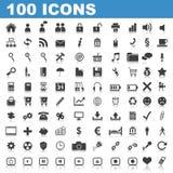 100 de Pictogrammen van het Web Stock Foto