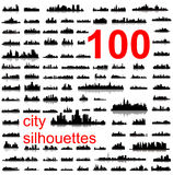 100 Detailed silhouettes of world cities Royalty Free Stock Images