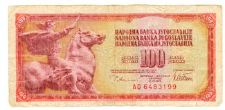 100-Dinar-Rechnung von Jugoslawien, 1978 Lizenzfreies Stockbild
