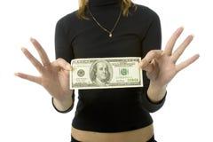 100 dolarów bankowych uwaga Fotografia Royalty Free