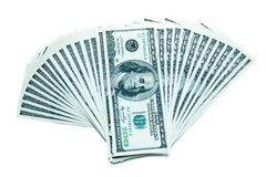 100 dolarowych rachunków wachlują stertę Zdjęcia Stock