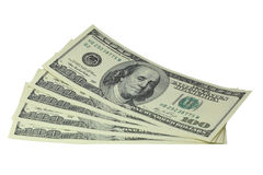 100 dollar. Money - 5 100 dollar bills lie isolated on whire  background Stock Photo
