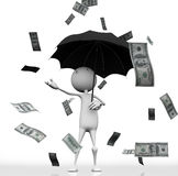 100 dollar. 3d man with an umbrella, the rain from the sky with 100 dollar bills on white background Royalty Free Stock Photography