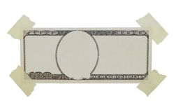 100$ dollar bill and adhesive tape isolated. On white background, texture Royalty Free Stock Images