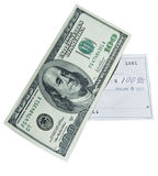 100 dollar bill and bank check Stock Photo