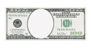 100 Dollar Bill Front No Face. A Crisp 100 Dollar Bill Front with No Face royalty free stock photography