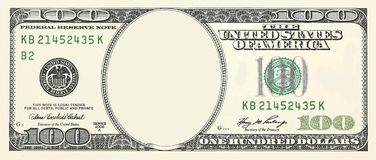 Free 100 Dollar Bill Front With No Face Frame For Design Isolated On White Stock Photos - 126404803