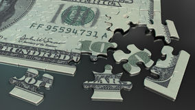 100 dollar bill jigsaw puzzle Stock Image