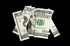 100 dollar bill in pieces Royalty Free Stock Photo