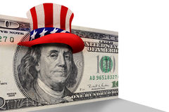 100 Dollar Bill with Top Hat. US one hundred dollar bill with Ben Franklin in a patriotic Uncle Sam top hat stock illustration
