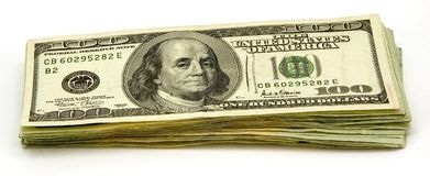 100 Dollar Bills. Stack of US 100 dollar bills isolater on white background Stock Images